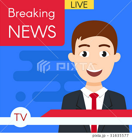 Vector illustration of news journalist anchorman.  31635577