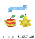 Apple and green pear with measuring tape isolat 31637186