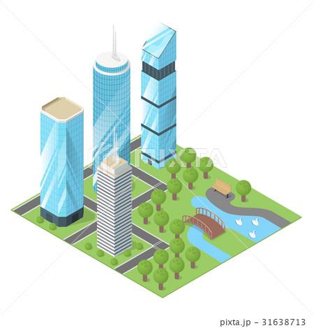 City buildings and  park.のイラスト素材 [31638713] - PIXTA