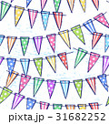 Ink hand drawn seamless pattern with flag garland 31682252
