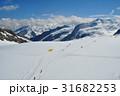 スイス・アルプス山脈の名峰メンヒの山小屋よりアレッチ雪原、アレッチ氷河方面を望む 31682253
