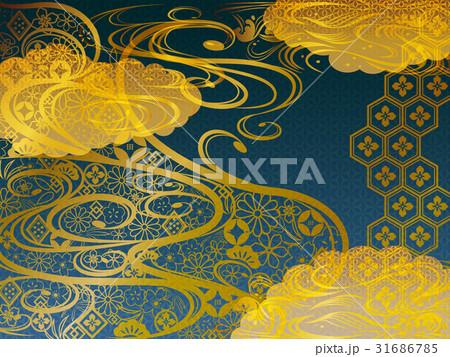 金の和柄波背景青素材 31686785