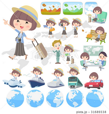 Mash hair blue cardigan woman travel 31689338