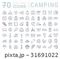 Set Vector Flat Line Icons Camping 31691022