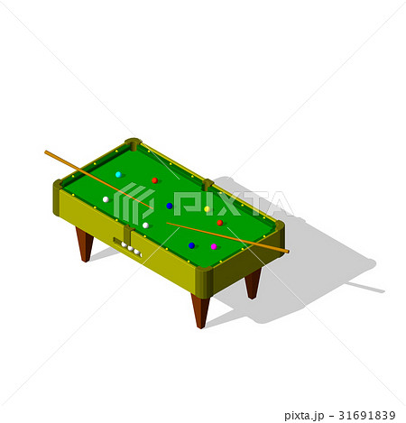 Billiard table.Isolated on white background.のイラスト素材 [31691839] - PIXTA