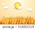 Paper art style Barley field with sun and cloud. 31692319