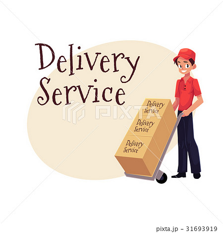 Courier, delivery service worker, hand cart, dolly 31693919