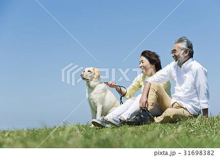 シニア夫婦と犬 草原と青空 31698382