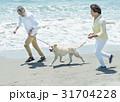シニア夫婦と犬 浜辺 走る 31704228