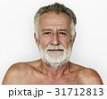 Senior adult man mustache bare chest studio portrait 31712813