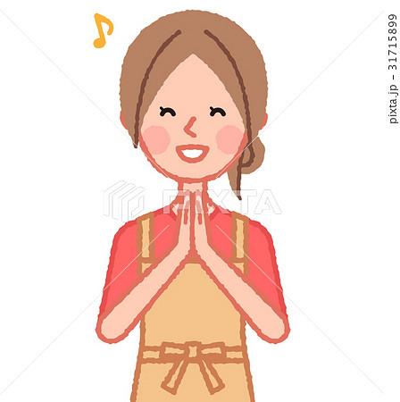手を合わせて喜ぶ女性 31715899