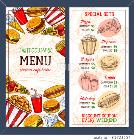 fast food restaurant vector menu templateのイラスト素材 31723554