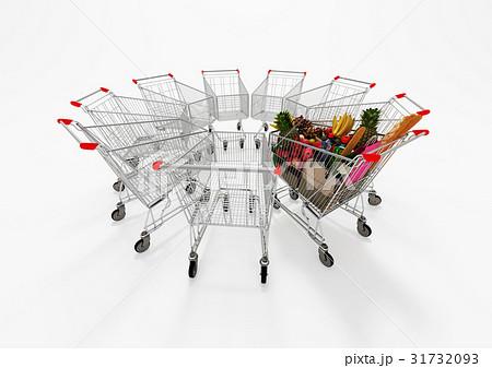 One Full Shopping Cart Among Empty Shopping Carts 31732093