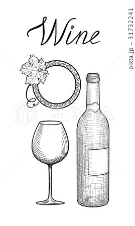 Wine set. Glass, bottle, lettering Bar drink signのイラスト素材 [31732241] - PIXTA