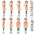 女性 上段:体横向き、下段:各向き笑顔 全身セット 31748107