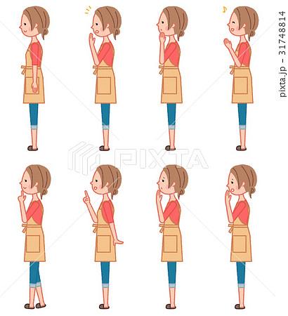 女性 横向き 全身セットのイラスト素材 31748814 Pixta