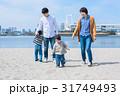 家族 海 砂浜の写真 31749493