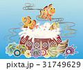 紅型風沖縄の海の風景-クマノミとイソギンチャク 31749629