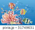紅型風沖縄の海の風景-熱帯魚とサンゴ 31749631