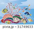 紅型風沖縄の海の風景-熱帯魚とサンゴ 31749633