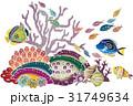 紅型風沖縄の海の生物-熱帯魚とサンゴ 31749634