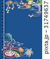 紅型風沖縄の海の風景-マンタ・イルカ・ウミガメ・熱帯魚とサンゴ 31749637