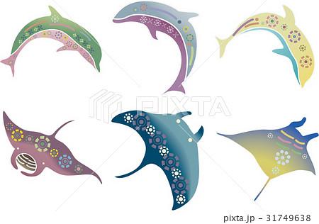 紅型風沖縄の海の生物セット-マンタ・イルカ 31749638