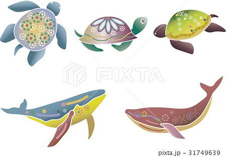紅型風沖縄の海の生物セット-ウミガメ・クジラ 31749639