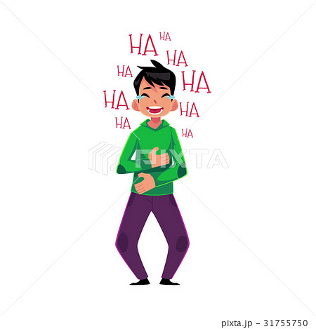 Young man laughing out loud, crying from laughter 31755750