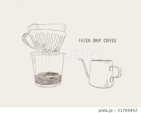 filter drip coffee, sketch vector.のイラスト素材 [31769842] - PIXTA