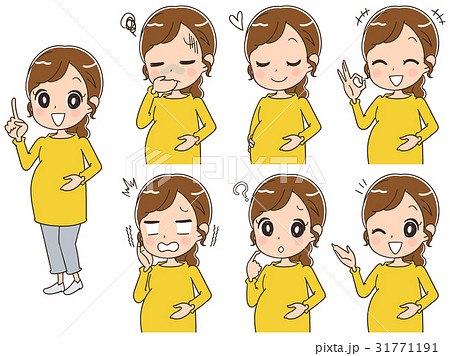 妊婦のイラスト(セット・全身) 31771191
