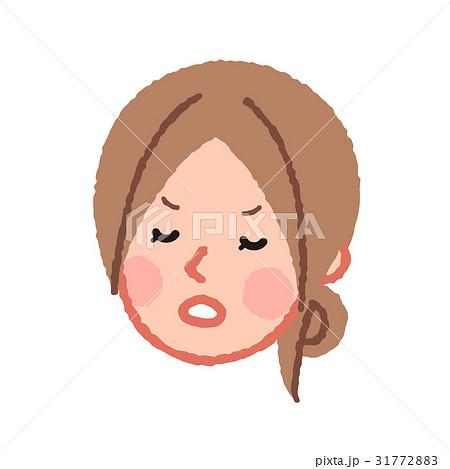 不機嫌な女性の顔 斜め 31772883