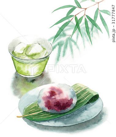 冷たい緑茶と水まんじゅう 31777847