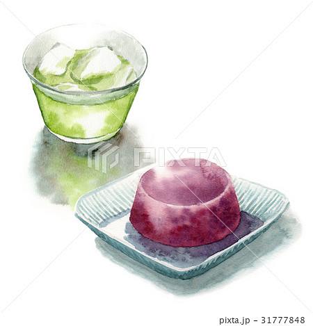 冷たい緑茶と水ようかん 31777848
