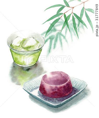 冷たい緑茶と水ようかん 31777849