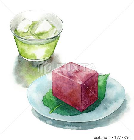 冷たい緑茶と水ようかん 31777850