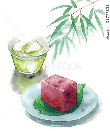 冷たい緑茶と水ようかん 31777851