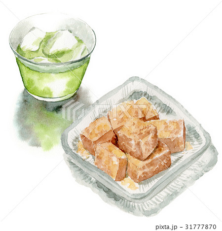 冷たい緑茶とわらびもち 31777870