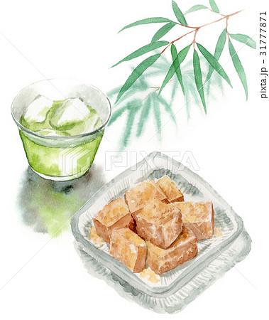 冷たい緑茶とわらびもち 31777871
