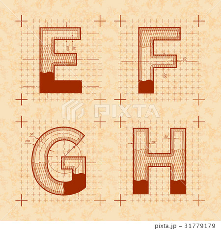 Inventor sketches of E F G H lettersのイラスト素材 [31779179] - PIXTA
