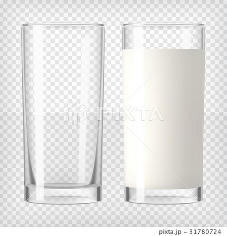 Milk in a glass and an empty glassのイラスト素材 [31780724] - PIXTA