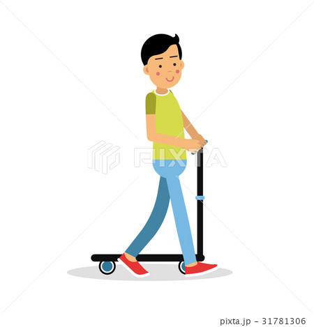Cute brunette boy teen riding a kick scooter 31781306
