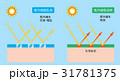 紫外線吸収剤 紫外線錯乱剤 断面図のイラスト 31781375
