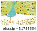 咲き誇る花と孔雀 31786664