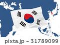 世界地図と韓国国旗 31789099