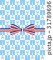 ギフト包装:フランス国旗模様のリボンとエッフェル塔柄の包装 31789696