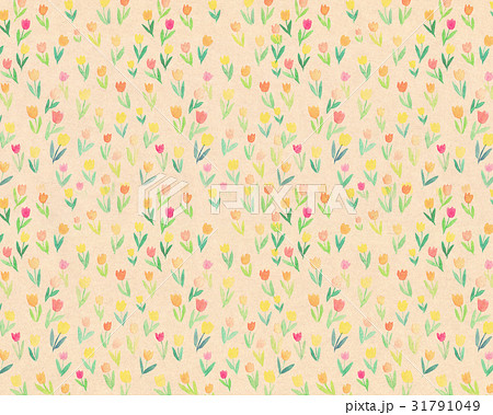 背景素材 水彩 花柄 チューリップ 31791049