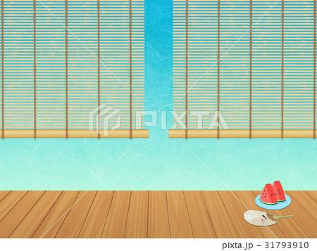 縁側にて (すだれ、うちわ、カットスイカ) 31793910