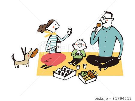 お弁当を食べる家族 31794515