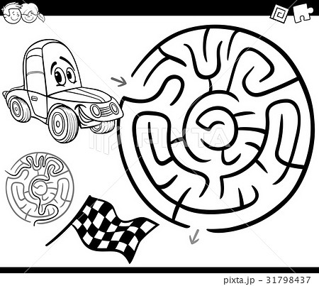Maze With Car Coloring Pageのイラスト素材 31798437 Pixta